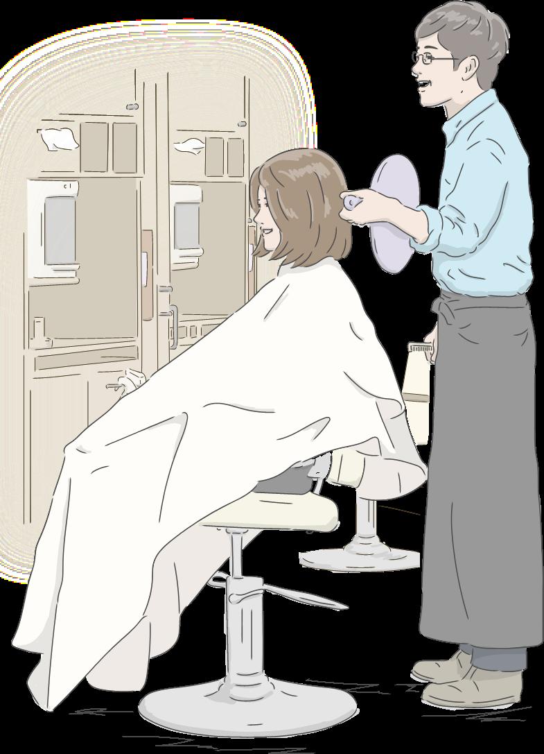 散髪後の仕上がり確認でお客様が笑顔になるイラスト